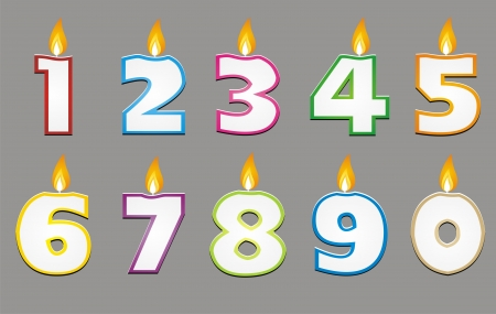 6 7 years: birthday candle with colorful outline vector