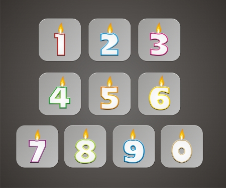number candle button Vector