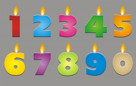 colorful number candles for decorated Vector