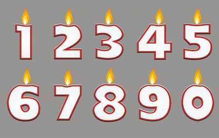 7 9 years: number candle with red outline