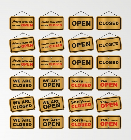 closed door: open sign and closed sign with gold background Illustration