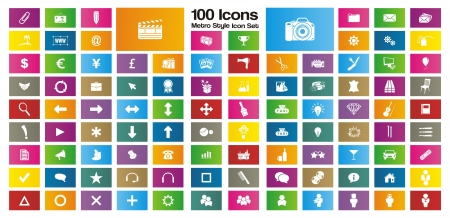 contemporary style: 100 metro style rectangle icon sets