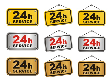 24h service sign Stock Vector - 20237407