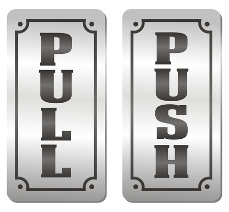 push and pull door signs Illustration
