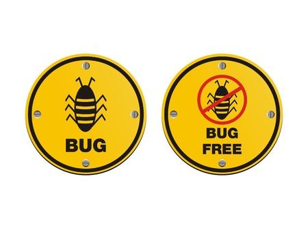 bug alert sign Vector