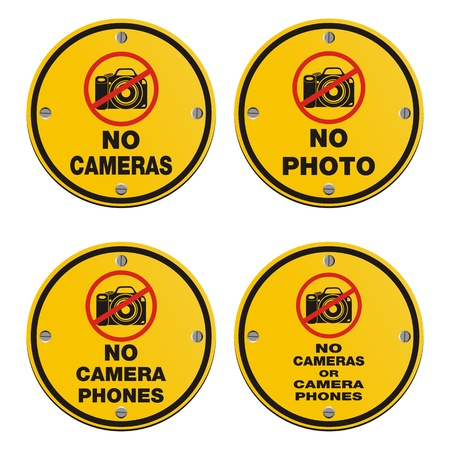 cell phones not allowed: no cameras - circle sign Illustration