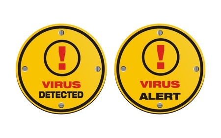 detected: virus alert, virus detected - circle signs