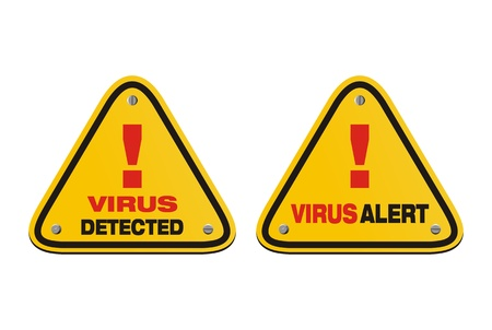 detected: virus alert, virus detected - triangle signs