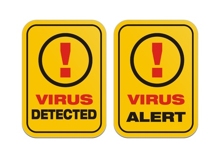 detected: virus alert, virus detected - yellow signs