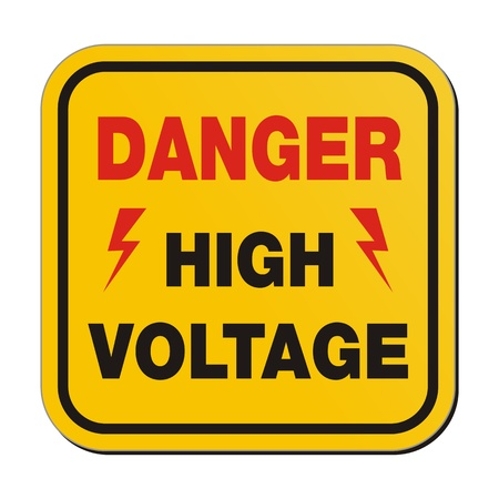 high voltage sign: danger high voltage - yellow sign