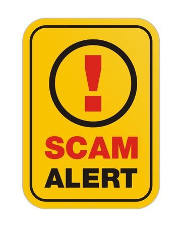 scam alert yellow sign Vector