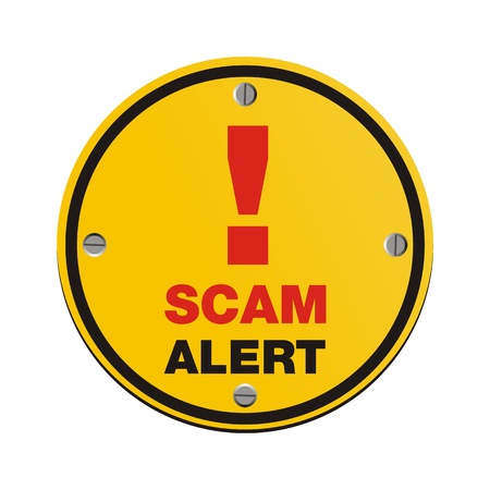 web scam: scam alert circle sign