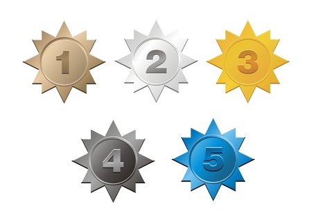 1,2,3,4,5 badges Vector