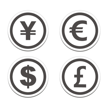 currency symbol: currency circle sticker sets Illustration