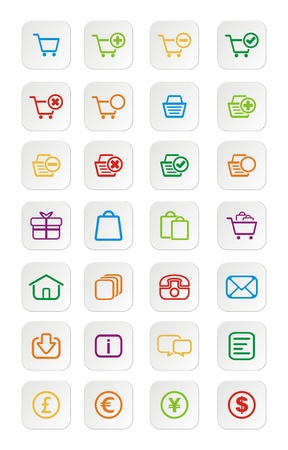 add to basket: colorful ecommerce icons