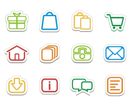 colorful online shop stickers - icons Vector
