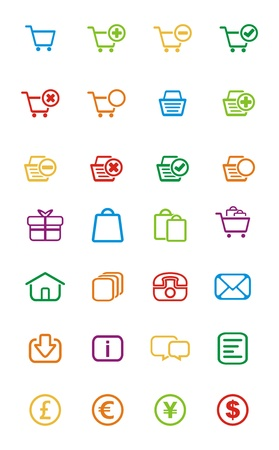 colorful outline icon - ecommerce Vector