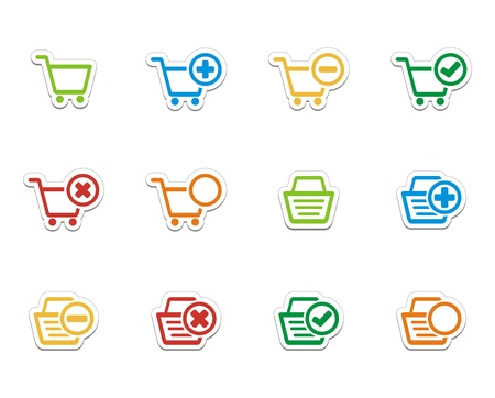 ecommerce icons - colorful stickers Vector