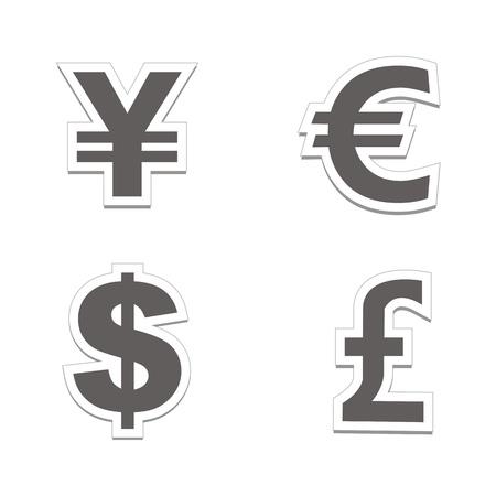yen sign: currency sticker sets - black colour