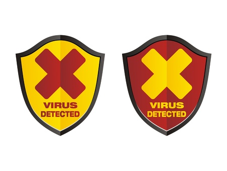 virus detected - shield signs Stock Vector - 20823436
