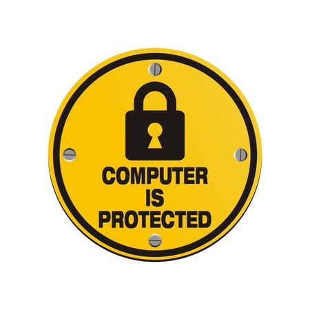 computer is protected - circle signs Stock Vector - 20823441