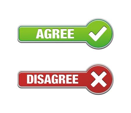 coincidir: acuerdo y desacuerdo grupos de botones Vectores