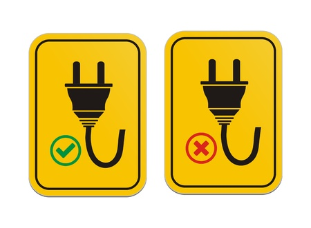 plugged: plugged and un-plugged yellow signs Illustration