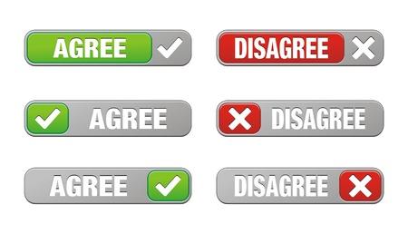 pas d accord: ensemble de boutons accord et en d�saccord