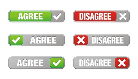 disagree: set of agree and disagree buttons