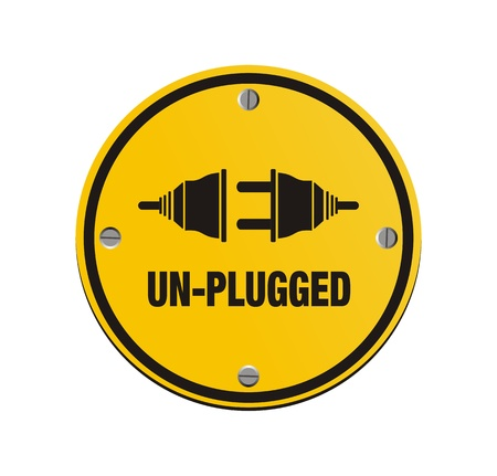 electricity danger of death: unplug circle signs