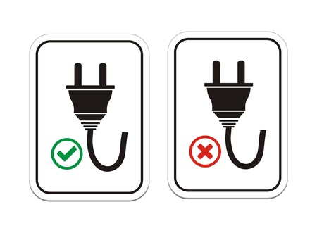 unplugged: plugged and un-plugged signs Illustration