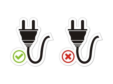 unplugged: enchufado y desconectada con pegatinas Vectores
