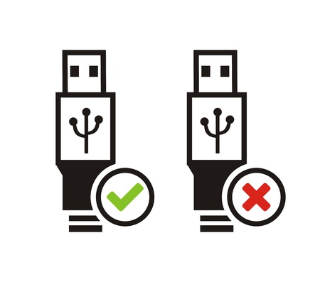 USB available and USB not available icons Vector