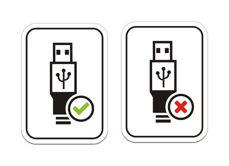 USB available and USB not available signs Vector