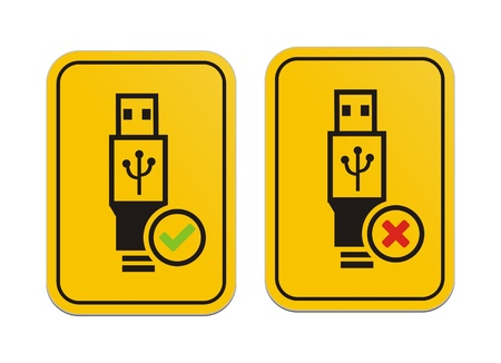USB available and USB not available yellow signs Vector
