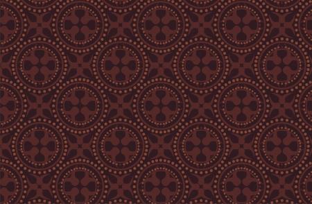 indonesia culture: dark brown batik pattern Illustration