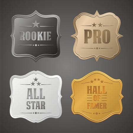 platina: rookie, pro, al ster, Hall of Famer badge Stock Illustratie