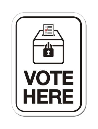 ballot box: vote here signs