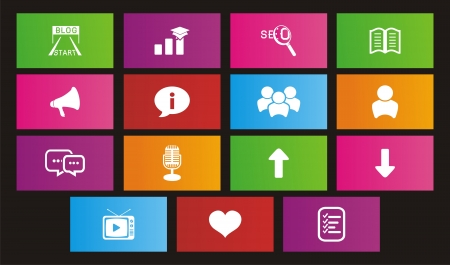 metro style icons - blog icon Stock Vector - 20981606