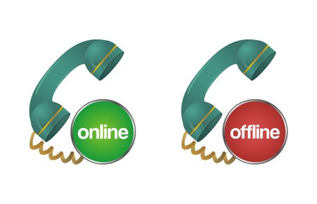 online, offline, chat, support, help telephone icon Vector