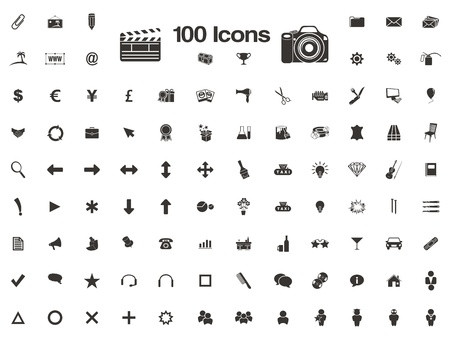 100 icons - favicon Vector
