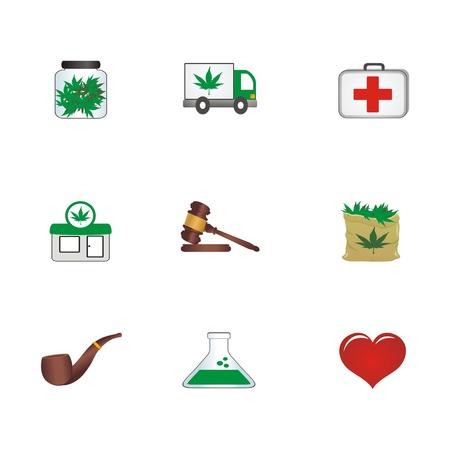 medicinal cannabis icons Vector