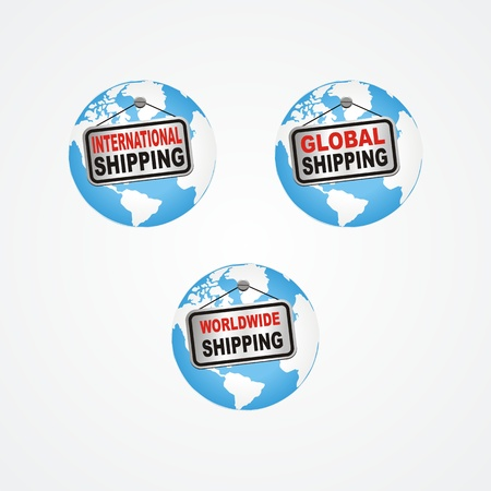 global, international, worldwide shipping icon Vector