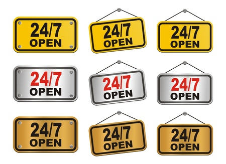 24 hour 7 day open sign Vector