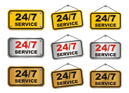 24 hour 7 day service sign Vector