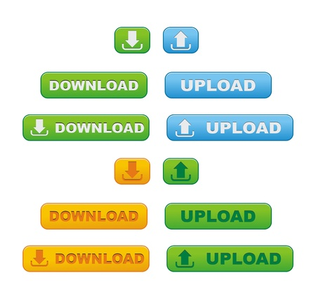 upload and download button sets Stock Vector - 21317112