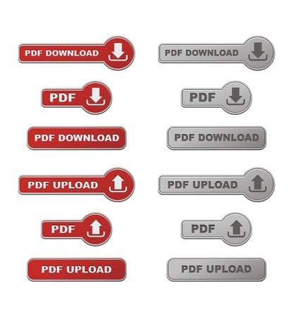 set of upload and download PDF button with hover state