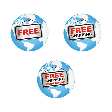 set of free shipping worldwide Vector