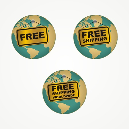 free shipping worldwide icons Vector