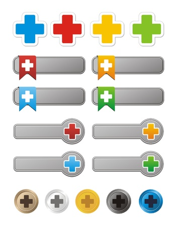 plus symbol button and strickers Vector
